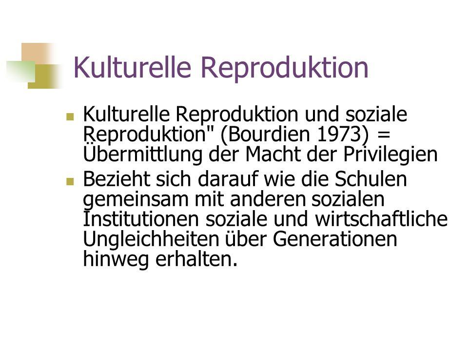 Kulturelle Reproduktion Kulturelle Reproduktion und soziale Reproduktion