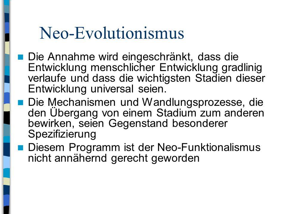 Theorien sozialen Wandels Neo-Evolutionismus funktionalistischer Prägung (Parsons, Smelser, Eisenstadt) Bezieht sich auf soziale Systeme, die zur Selb