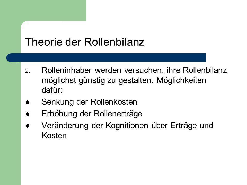 Theorie der Rollenbilanz 2. Rolleninhaber werden versuchen, ihre Rollenbilanz möglichst günstig zu gestalten. Möglichkeiten dafür: Senkung der Rollenk