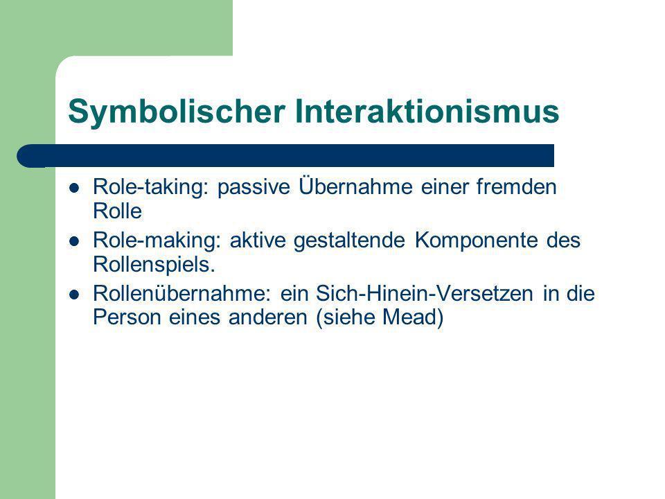 Symbolischer Interaktionismus Role-taking: passive Übernahme einer fremden Rolle Role-making: aktive gestaltende Komponente des Rollenspiels. Rollenüb