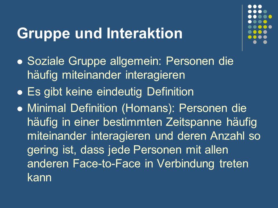 Gruppe und Interaktion Soziale Gruppe allgemein: Personen die häufig miteinander interagieren Es gibt keine eindeutig Definition Minimal Definition (H