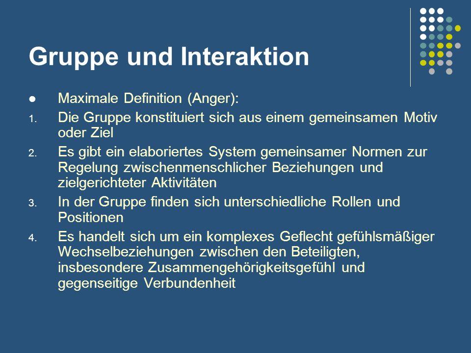 Gruppe und Interaktion Maximale Definition (Anger): 1. Die Gruppe konstituiert sich aus einem gemeinsamen Motiv oder Ziel 2. Es gibt ein elaboriertes