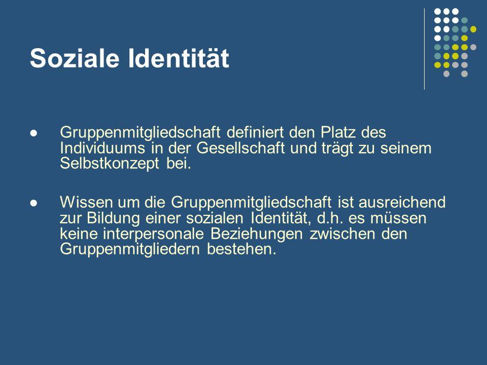 Soziale Identität Gruppenmitgliedschaft definiert den Platz des Individuums in der Gesellschaft und trägt zu seinem Selbstkonzept bei. Wissen um die G
