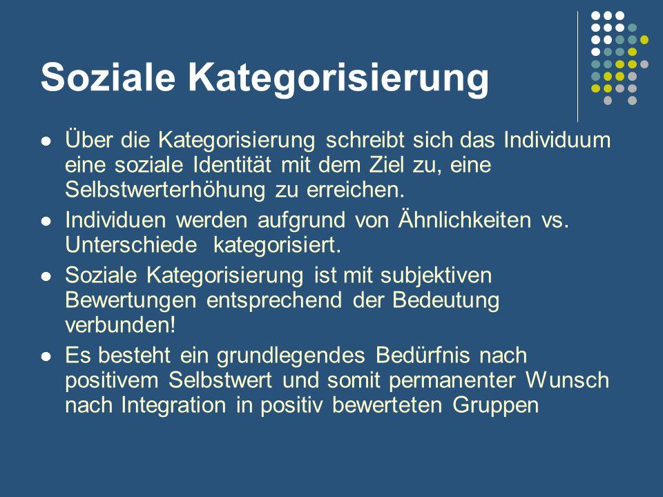Soziale Kategorisierung Über die Kategorisierung schreibt sich das Individuum eine soziale Identität mit dem Ziel zu, eine Selbstwerterhöhung zu errei