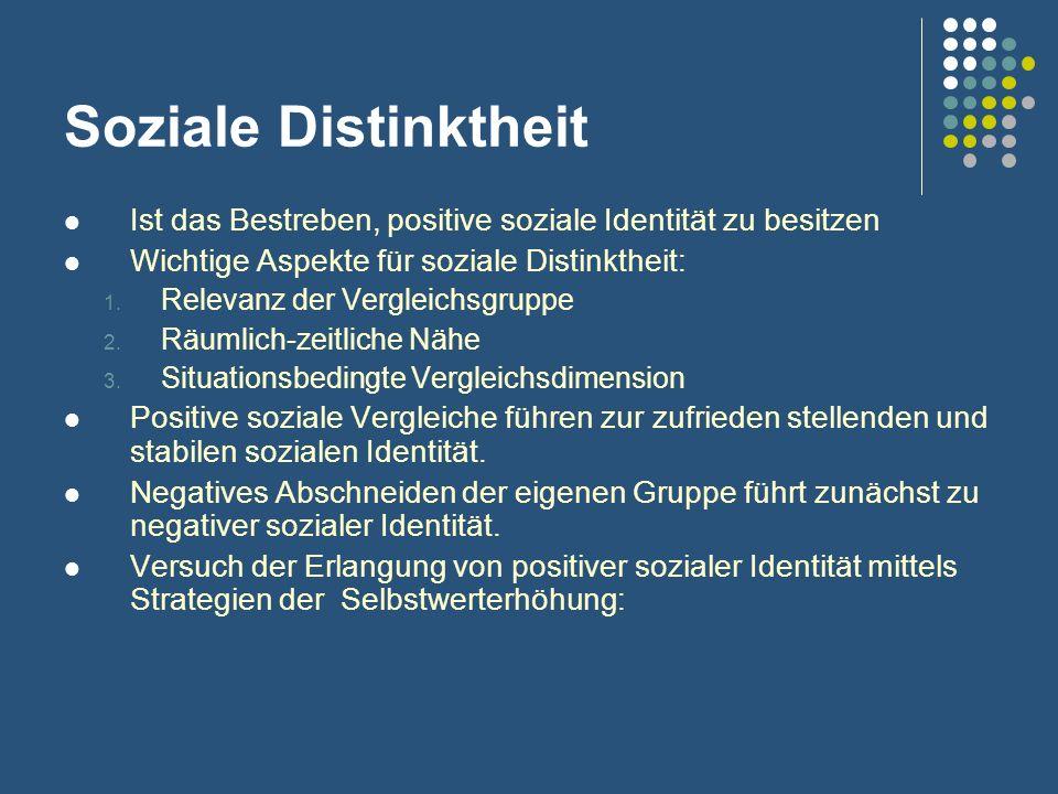 Soziale Distinktheit Ist das Bestreben, positive soziale Identität zu besitzen Wichtige Aspekte für soziale Distinktheit: 1. Relevanz der Vergleichsgr