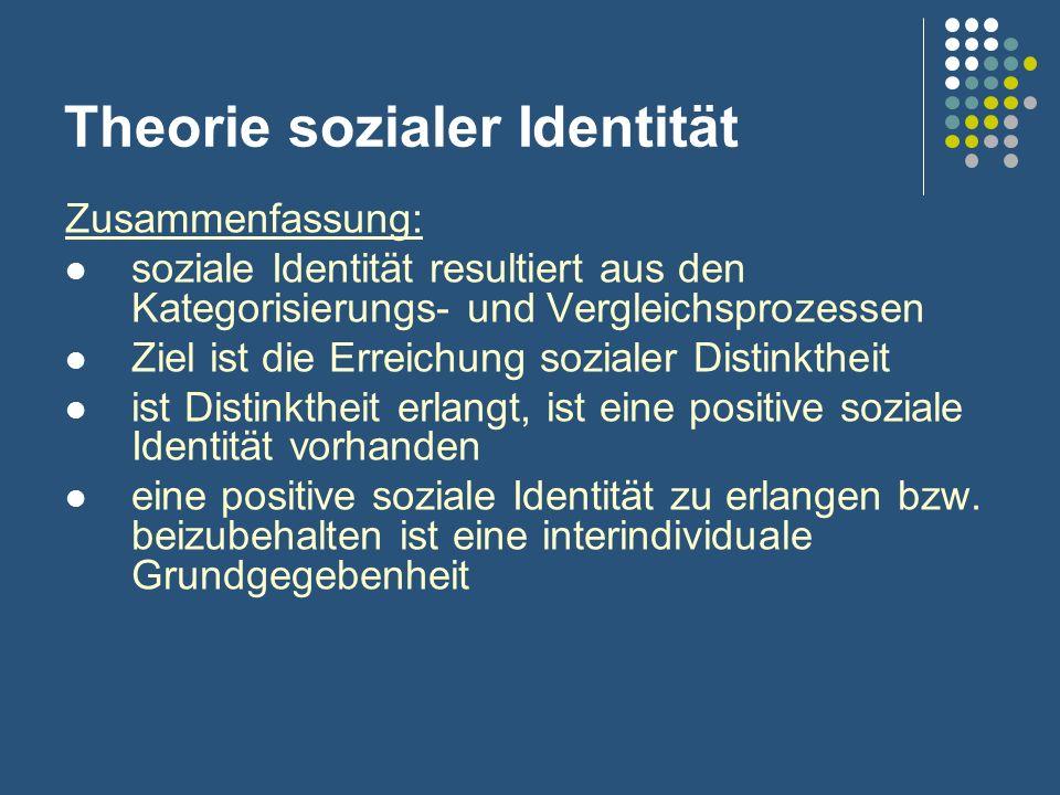 Theorie sozialer Identität Zusammenfassung: soziale Identität resultiert aus den Kategorisierungs- und Vergleichsprozessen Ziel ist die Erreichung soz