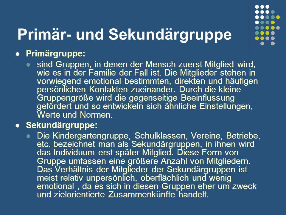 Primär- und Sekundärgruppe Primärgruppe: sind Gruppen, in denen der Mensch zuerst Mitglied wird, wie es in der Familie der Fall ist. Die Mitglieder st