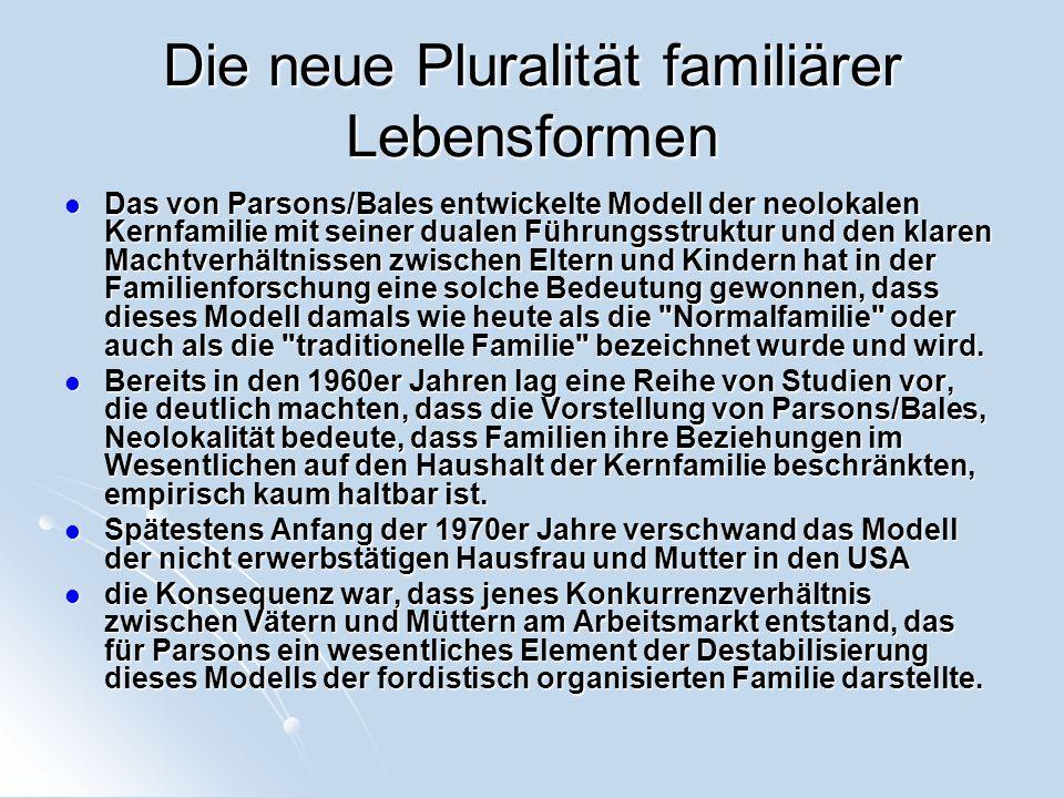 Die neue Pluralität familiärer Lebensformen Das von Parsons/Bales entwickelte Modell der neolokalen Kernfamilie mit seiner dualen Führungsstruktur und