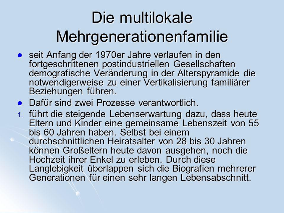 Die multilokale Mehrgenerationenfamilie seit Anfang der 1970er Jahre verlaufen in den fortgeschrittenen postindustriellen Gesellschaften demografische