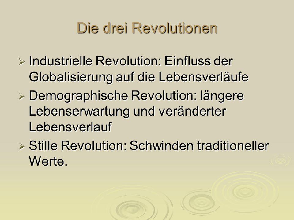 Die drei Revolutionen Industrielle Revolution: Einfluss der Globalisierung auf die Lebensverläufe Industrielle Revolution: Einfluss der Globalisierung