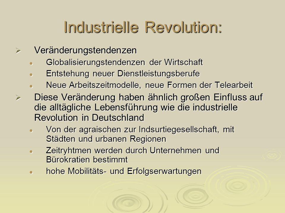 Industrielle Revolution: Veränderungstendenzen Veränderungstendenzen Globalisierungstendenzen der Wirtschaft Globalisierungstendenzen der Wirtschaft E