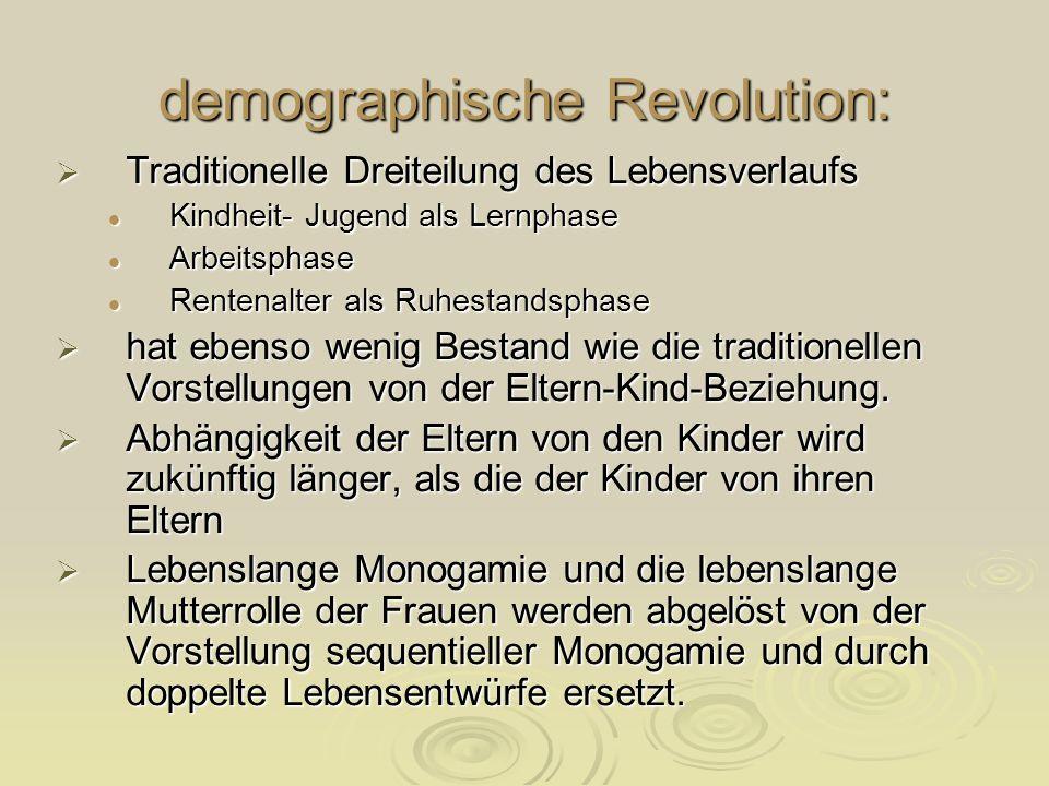 demographische Revolution: Traditionelle Dreiteilung des Lebensverlaufs Traditionelle Dreiteilung des Lebensverlaufs Kindheit- Jugend als Lernphase Ki