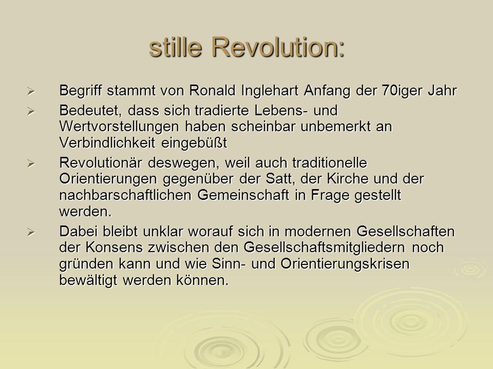 stille Revolution: Begriff stammt von Ronald Inglehart Anfang der 70iger Jahr Begriff stammt von Ronald Inglehart Anfang der 70iger Jahr Bedeutet, das