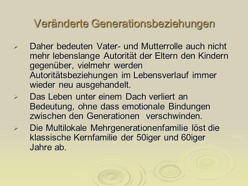 Veränderte Generationsbeziehungen Daher bedeuten Vater- und Mutterrolle auch nicht mehr lebenslange Autorität der Eltern den Kindern gegenüber, vielme
