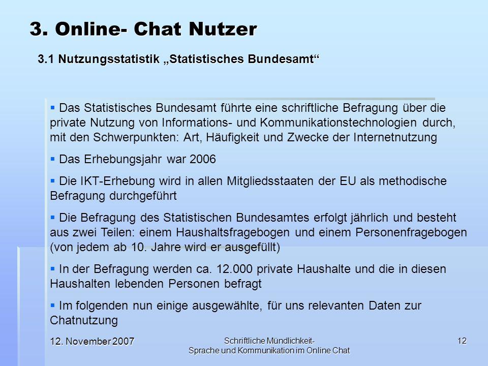 12. November 2007 Schriftliche Mündlichkeit- Sprache und Kommunikation im Online Chat 12 Das Statistisches Bundesamt führte eine schriftliche Befragun
