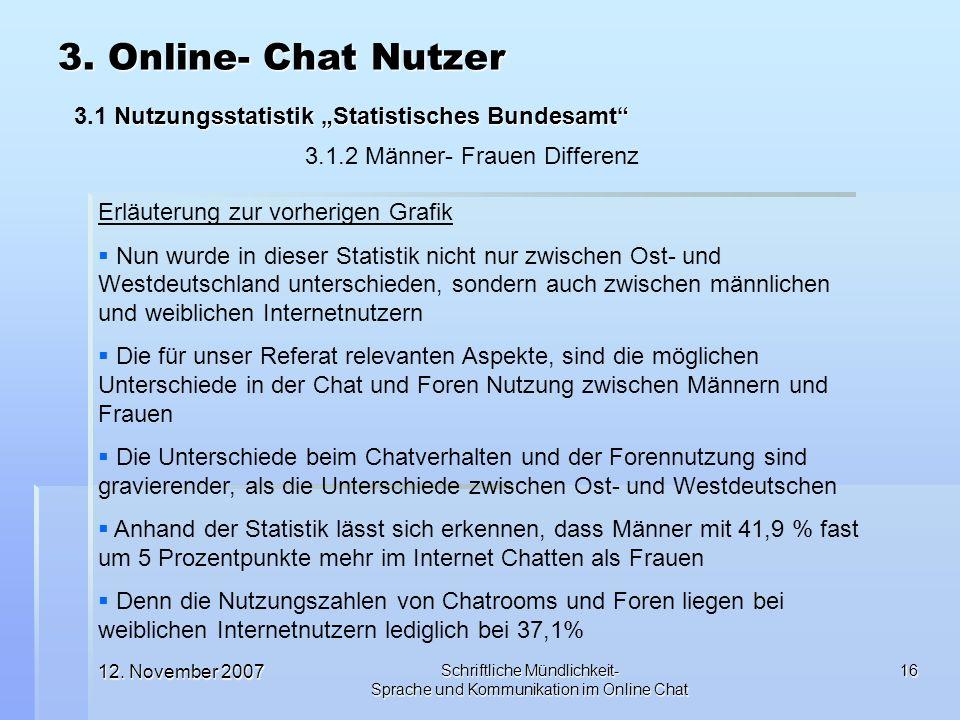 12. November 2007 Schriftliche Mündlichkeit- Sprache und Kommunikation im Online Chat 16 Erläuterung zur vorherigen Grafik Nun wurde in dieser Statist