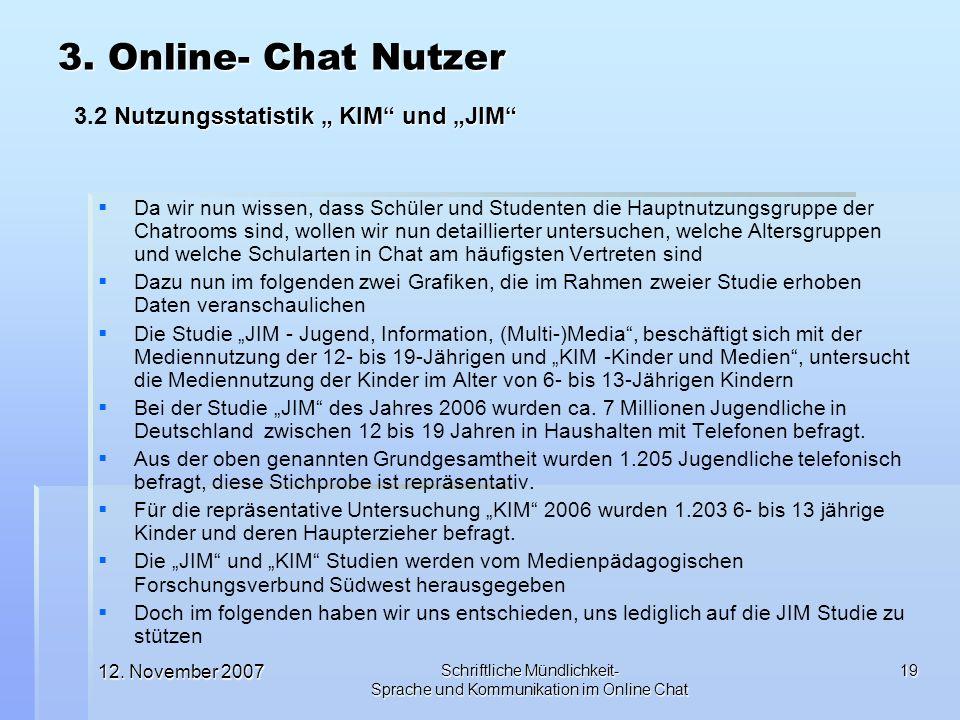 12. November 2007 Schriftliche Mündlichkeit- Sprache und Kommunikation im Online Chat 19 Da wir nun wissen, dass Schüler und Studenten die Hauptnutzun