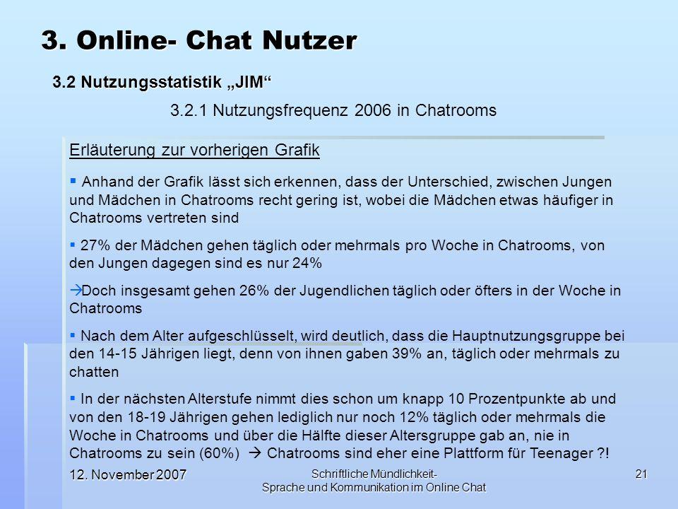 12. November 2007 Schriftliche Mündlichkeit- Sprache und Kommunikation im Online Chat 21 3. Online- Chat Nutzer Nutzungsstatistik JIM 3.2 Nutzungsstat