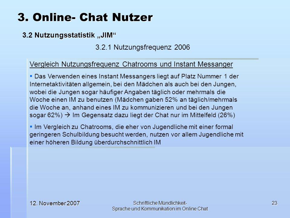 12. November 2007 Schriftliche Mündlichkeit- Sprache und Kommunikation im Online Chat 23 3. Online- Chat Nutzer Nutzungsstatistik JIM 3.2 Nutzungsstat