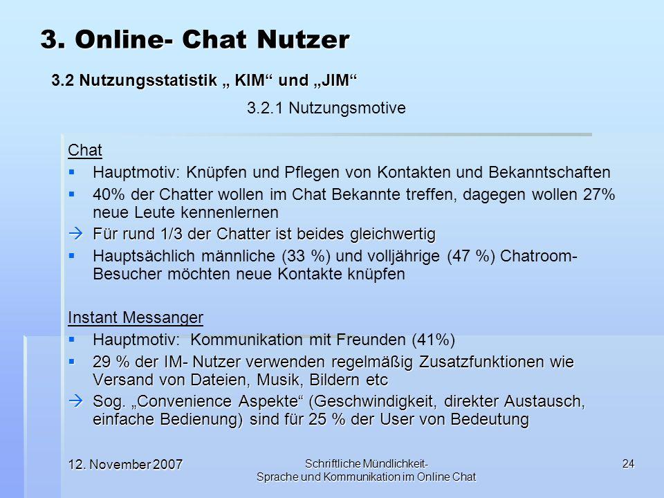 12. November 2007 Schriftliche Mündlichkeit- Sprache und Kommunikation im Online Chat 24 Chat Hauptmotiv: Knüpfen und Pflegen von Kontakten und Bekann