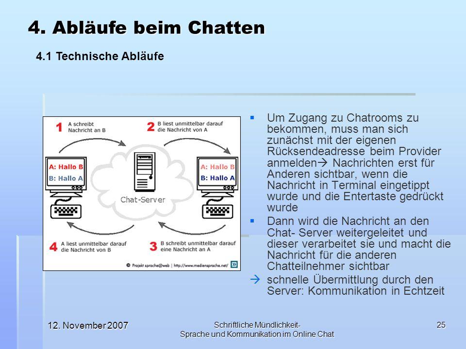 12. November 2007 Schriftliche Mündlichkeit- Sprache und Kommunikation im Online Chat 25 Um Zugang zu Chatrooms zu bekommen, muss man sich zunächst mi