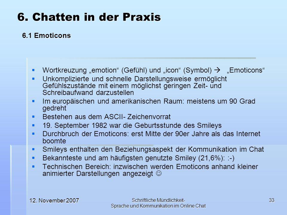 12. November 2007 Schriftliche Mündlichkeit- Sprache und Kommunikation im Online Chat 33 Wortkreuzung emotion (Gefühl) und icon (Symbol) Emoticons Unk