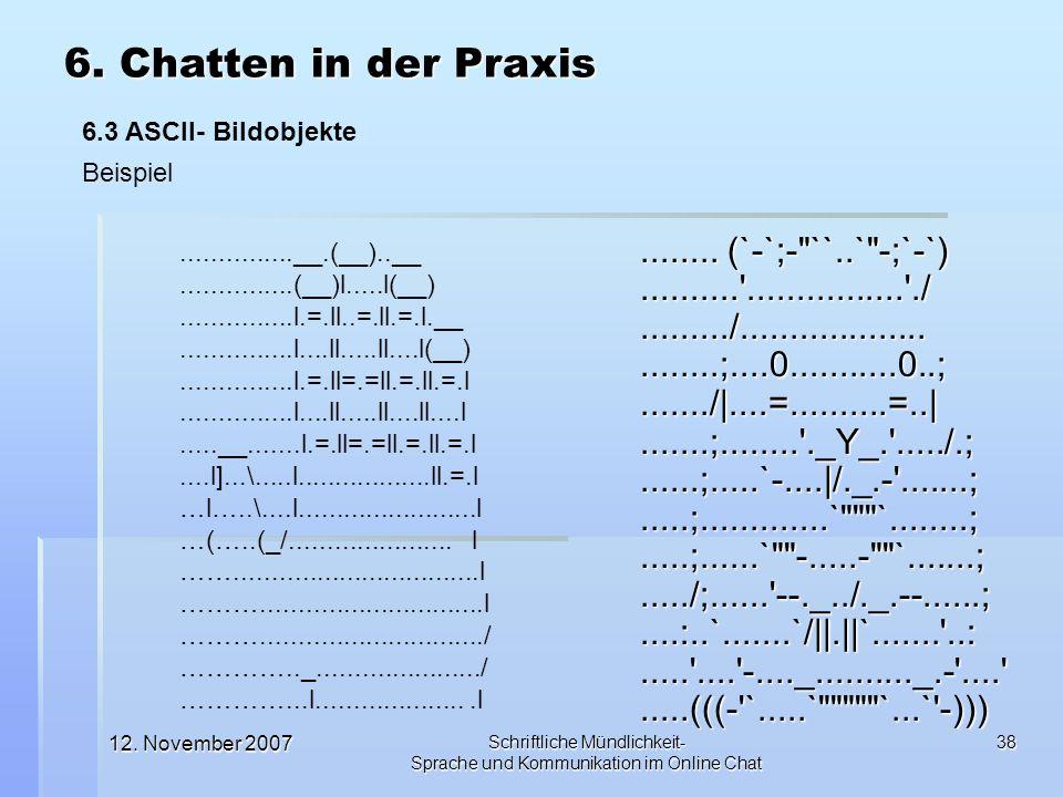 12. November 2007 Schriftliche Mündlichkeit- Sprache und Kommunikation im Online Chat 38........ (`-`;-