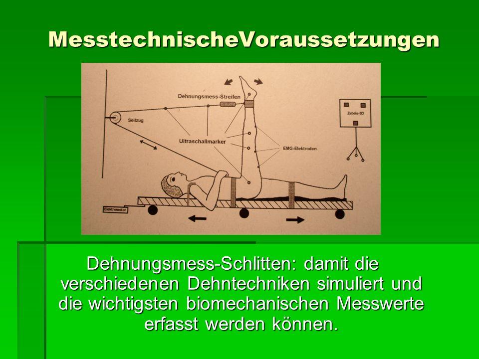 MesstechnischeVoraussetzungen Dehnungsmess-Schlitten: damit die verschiedenen Dehntechniken simuliert und die wichtigsten biomechanischen Messwerte er