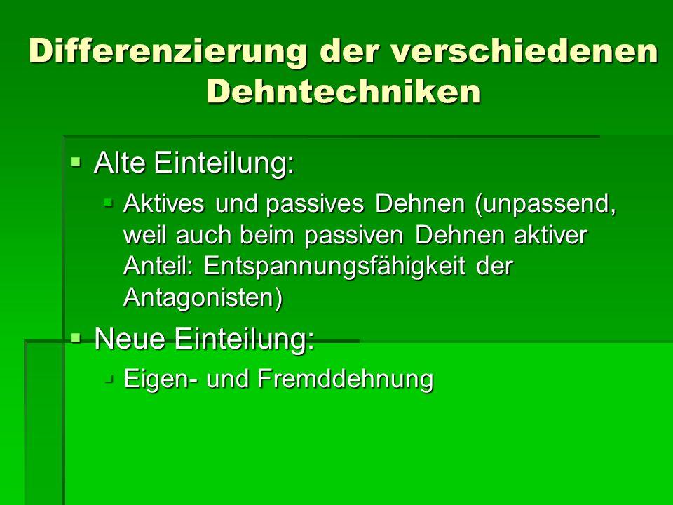 Differenzierung der verschiedenen Dehntechniken Alte Einteilung: Alte Einteilung: Aktives und passives Dehnen (unpassend, weil auch beim passiven Dehn