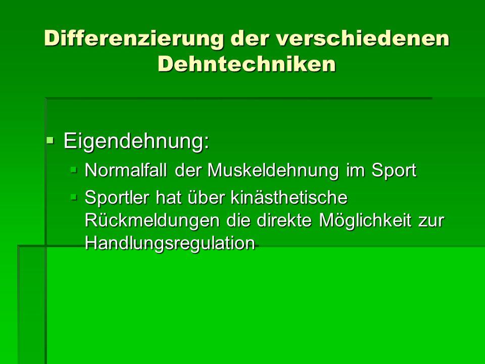 Differenzierung der verschiedenen Dehntechniken Eigendehnung: Eigendehnung: Normalfall der Muskeldehnung im Sport Normalfall der Muskeldehnung im Spor
