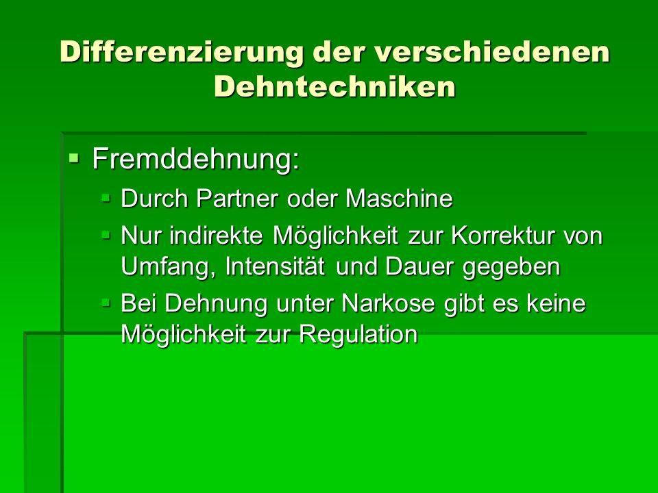 Differenzierung der verschiedenen Dehntechniken Fremddehnung: Fremddehnung: Durch Partner oder Maschine Durch Partner oder Maschine Nur indirekte Mögl