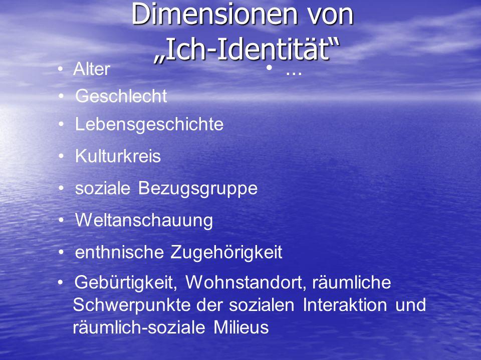 Dimensionen von Ich-Identität Alter Geschlecht Lebensgeschichte Kulturkreis soziale Bezugsgruppe Weltanschauung enthnische Zugehörigkeit Gebürtigkeit,