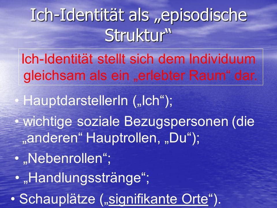 Ich-Identität als episodische Struktur Ich-Identität stellt sich dem Individuum gleichsam als ein erlebter Raum dar. HauptdarstellerIn (Ich); wichtige