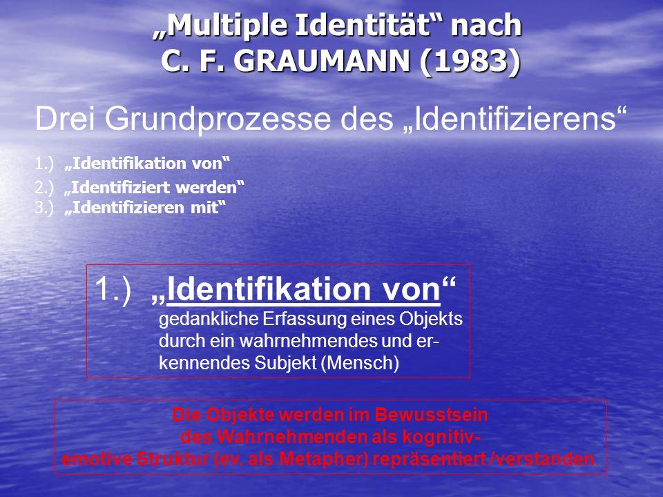 Multiple Identität nach C. F. GRAUMANN (1983) Drei Grundprozesse des Identifizierens 1.) Identifikation von 2.) Identifiziert werden 3.) Identifiziere