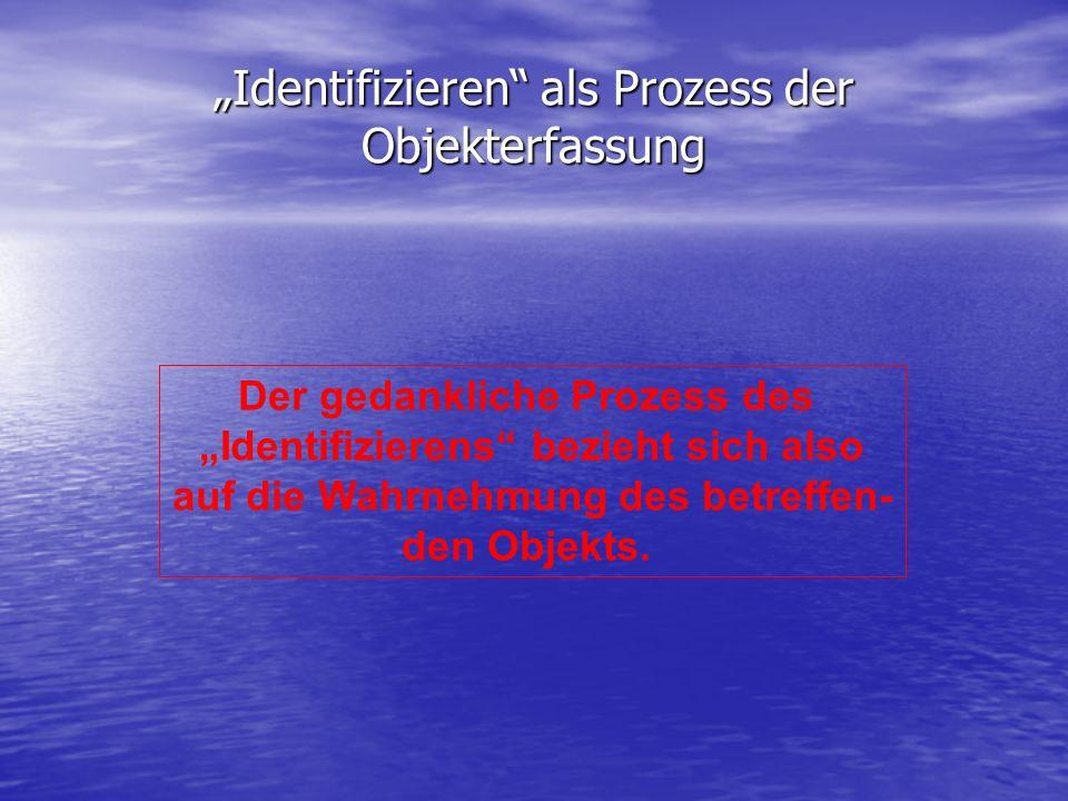 Identifizieren als Prozess der Objekterfassung Der gedankliche Prozess des Identifizierens bezieht sich also auf die Wahrnehmung des betreffen- den Ob