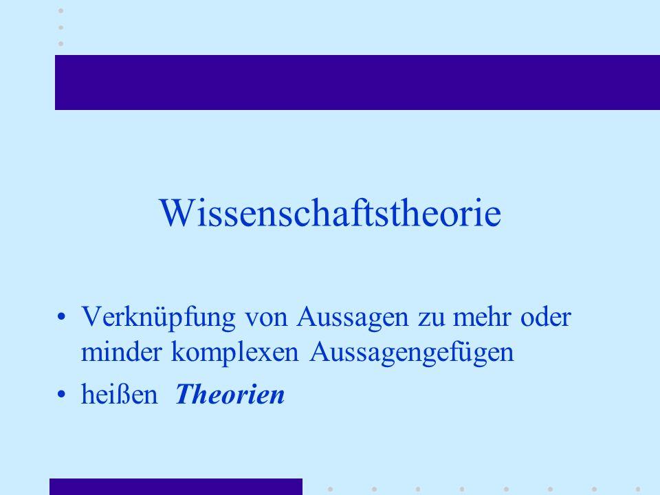 Wissenschaftstheorie Verknüpfung von Aussagen zu mehr oder minder komplexen Aussagengefügen heißen Theorien