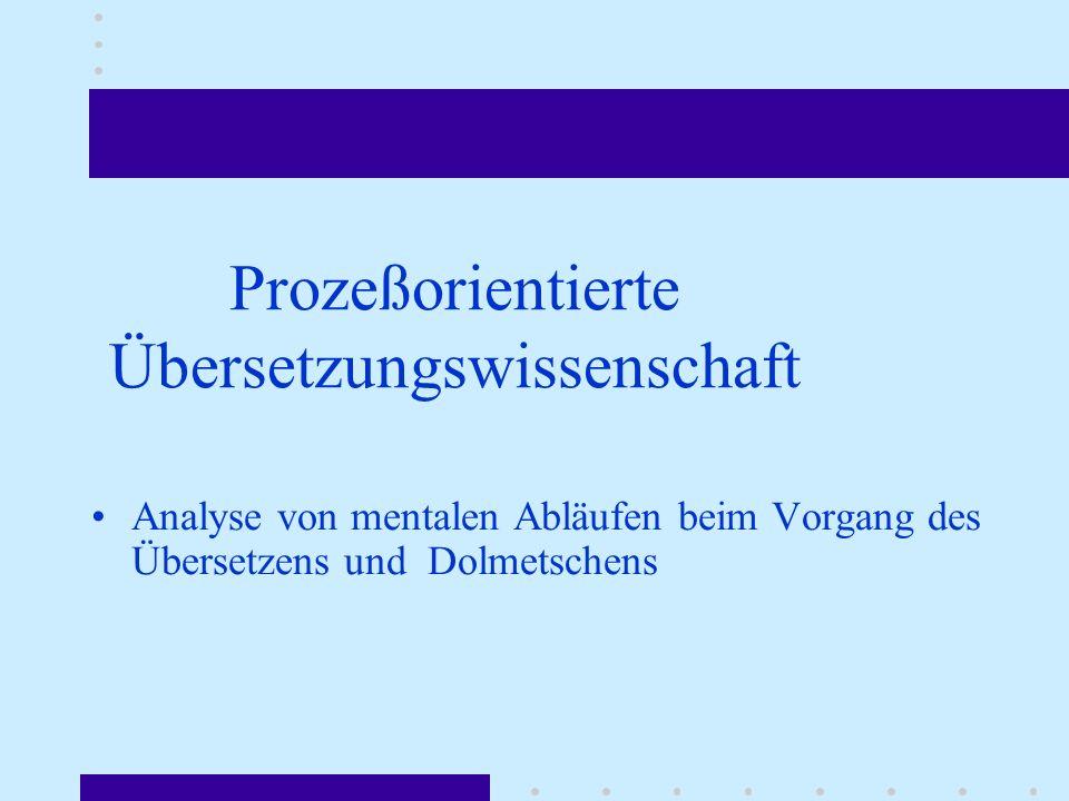 Prozeßorientierte Übersetzungswissenschaft Analyse von mentalen Abläufen beim Vorgang des Übersetzens und Dolmetschens