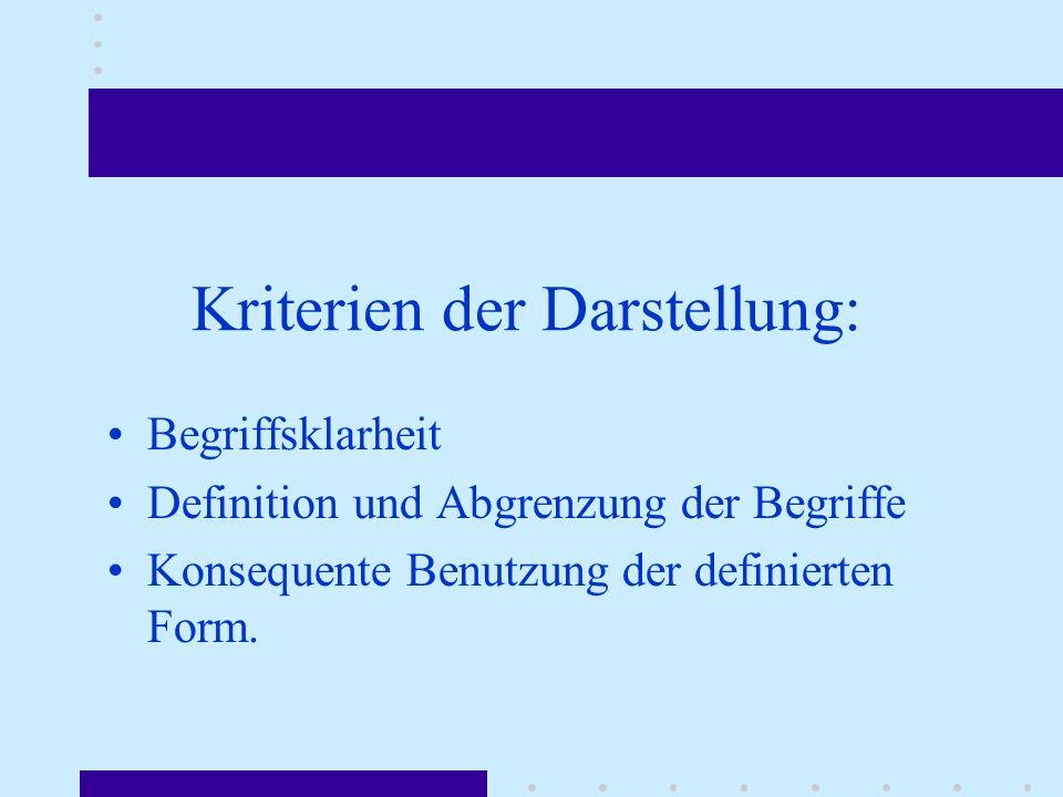 Begriffsklarheit Definition und Abgrenzung der Begriffe Konsequente Benutzung der definierten Form.