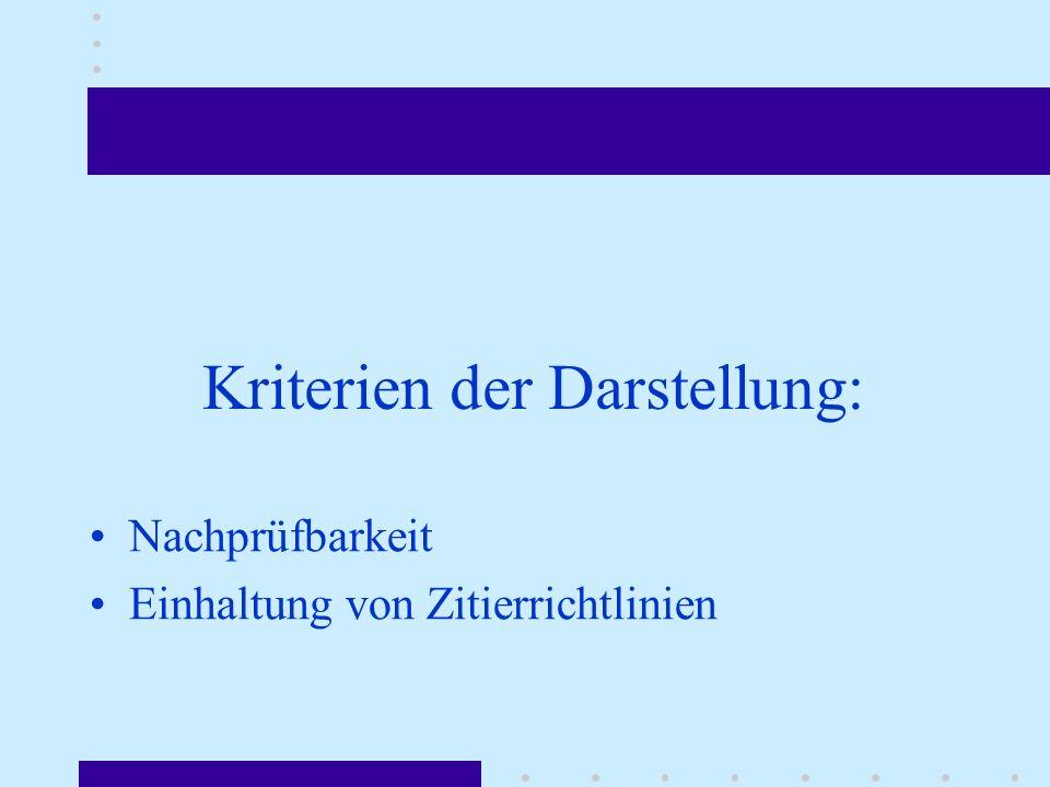Kriterien der Darstellung: Nachprüfbarkeit Einhaltung von Zitierrichtlinien