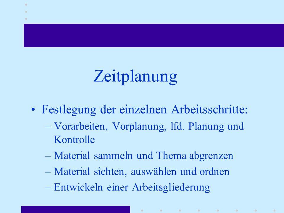 Zeitplanung Festlegung der einzelnen Arbeitsschritte: –Vorarbeiten, Vorplanung, lfd. Planung und Kontrolle –Material sammeln und Thema abgrenzen –Mate