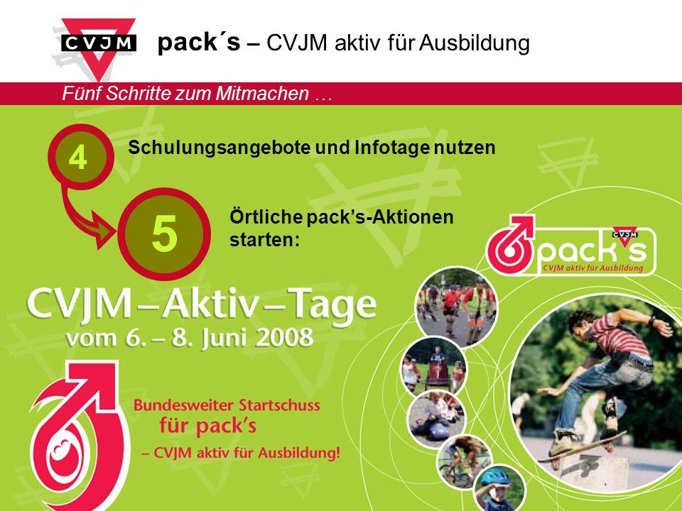pack´s – CVJM aktiv für Ausbildung Fünf Schritte zum Mitmachen … Schulungsangebote und Infotage nutzen Örtliche packs-Aktionen starten: 4 5