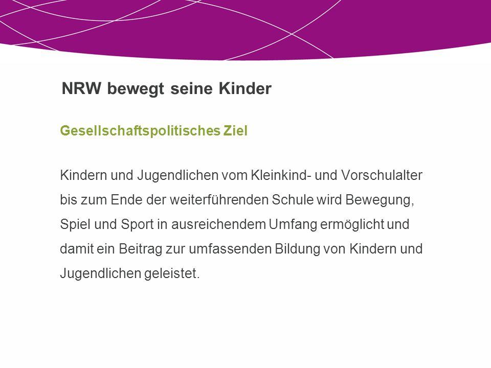 NRW bewegt seine Kinder Gesellschaftspolitisches Ziel Kindern und Jugendlichen vom Kleinkind- und Vorschulalter bis zum Ende der weiterführenden Schul