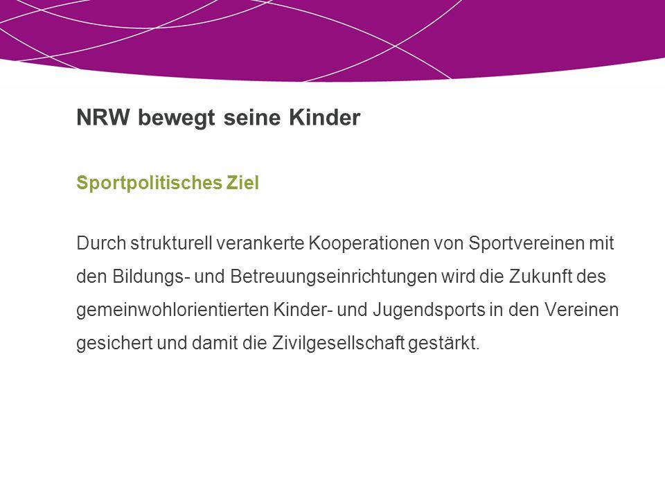 NRW bewegt seine Kinder Sportpolitisches Ziel Durch strukturell verankerte Kooperationen von Sportvereinen mit den Bildungs- und Betreuungseinrichtung