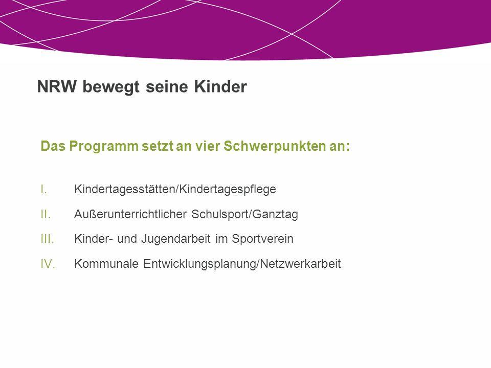 NRW bewegt seine Kinder Das Programm setzt an vier Schwerpunkten an: I.Kindertagesstätten/Kindertagespflege II.Außerunterrichtlicher Schulsport/Ganzta