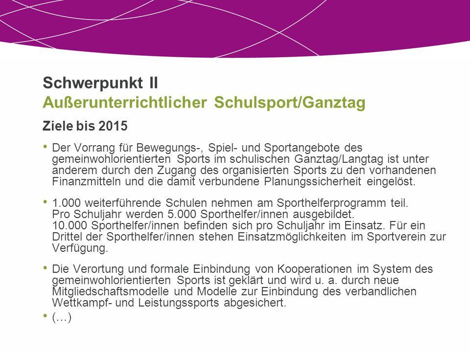 Schwerpunkt II Außerunterrichtlicher Schulsport/Ganztag Ziele bis 2015 Der Vorrang für Bewegungs-, Spiel- und Sportangebote des gemeinwohlorientierten