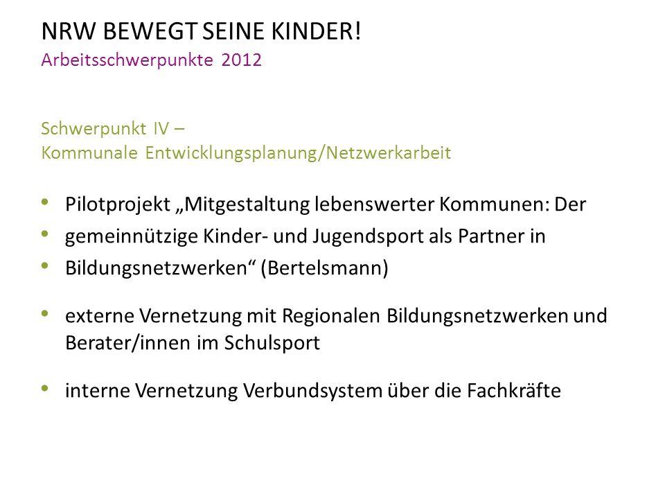 NRW BEWEGT SEINE KINDER! Arbeitsschwerpunkte 2012 Schwerpunkt IV – Kommunale Entwicklungsplanung/Netzwerkarbeit Pilotprojekt Mitgestaltung lebenswerte