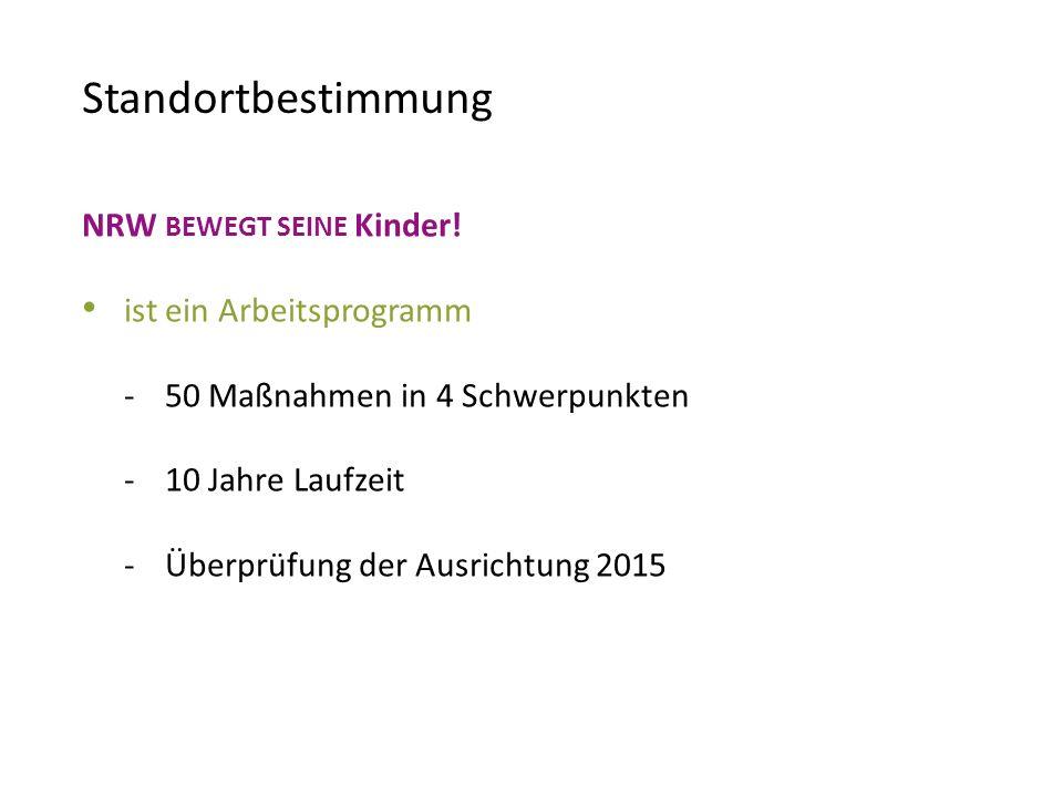 NRW BEWEGT SEINE Kinder! ist ein Arbeitsprogramm -50 Maßnahmen in 4 Schwerpunkten -10 Jahre Laufzeit -Überprüfung der Ausrichtung 2015 Standortbestimm