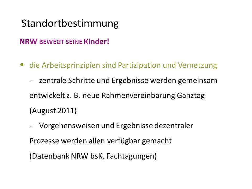 NRW BEWEGT SEINE Kinder! die Arbeitsprinzipien sind Partizipation und Vernetzung - zentrale Schritte und Ergebnisse werden gemeinsam entwickelt z. B.