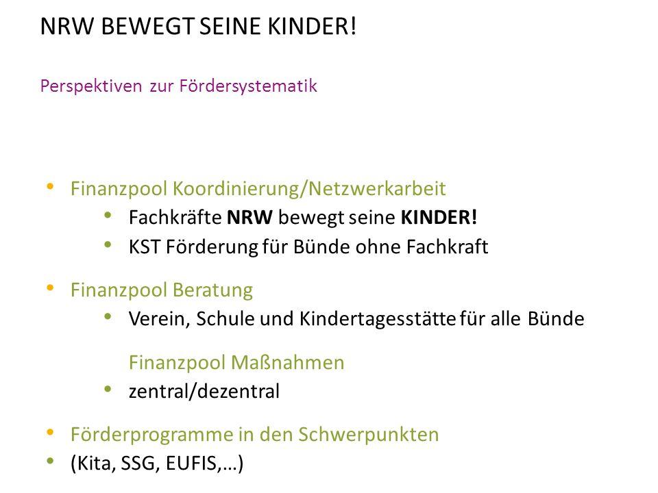 NRW BEWEGT SEINE KINDER! Perspektiven zur Fördersystematik Finanzpool Koordinierung/Netzwerkarbeit Fachkräfte NRW bewegt seine KINDER! KST Förderung f