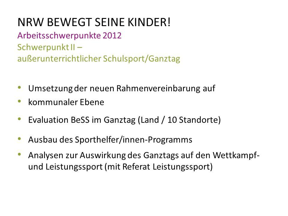 NRW BEWEGT SEINE KINDER! Arbeitsschwerpunkte 2012 Schwerpunkt II – außerunterrichtlicher Schulsport/Ganztag Umsetzung der neuen Rahmenvereinbarung auf